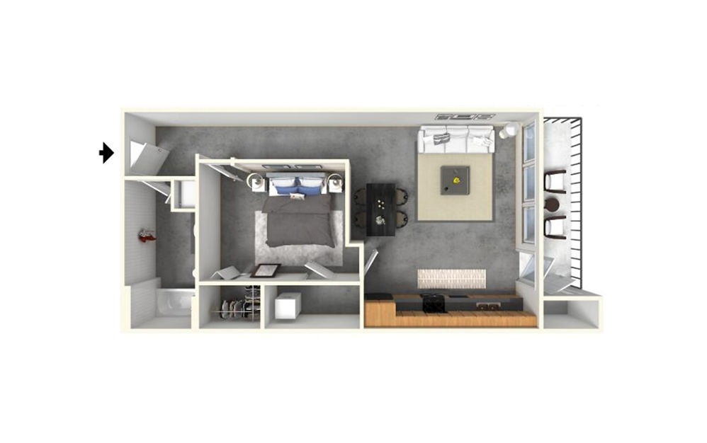 1 | 1 - 1 bedroom floorplan layout with 1 bath and 720 square feet (1st floor 2D)