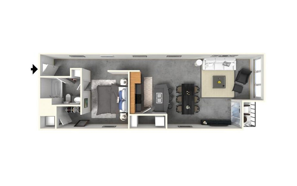 1 | 1 with Island - 1 bedroom floorplan layout with 1 bath and 972 square feet (1st floor 2D)