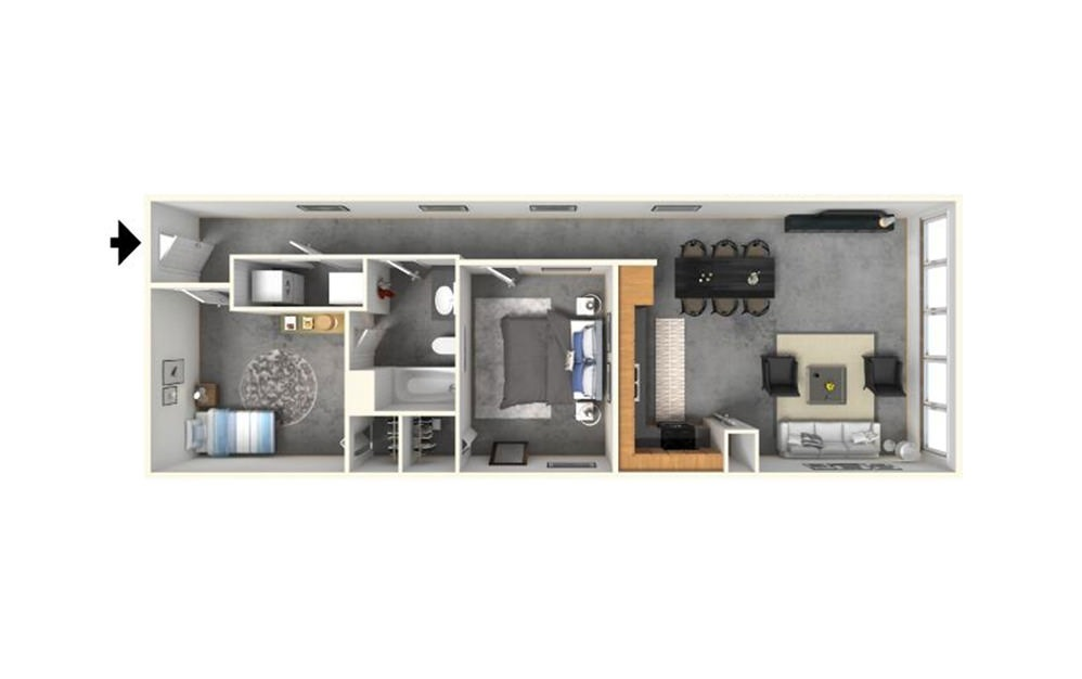2 | 1 - 2 bedroom floorplan layout with 1 bath and 972 square feet (1st floor 2D)