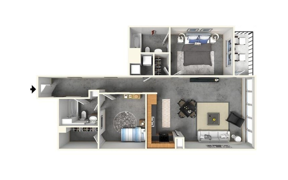 2 | 2 w/ Balcony - 2 bedroom floorplan layout with 2 bath and 1367 square feet (1st floor 2D)