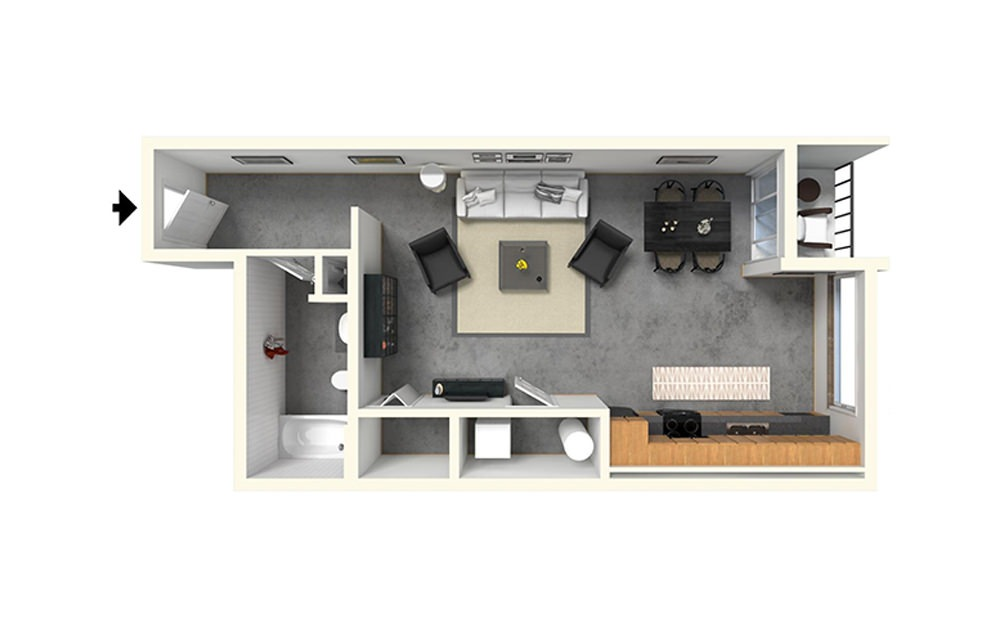 Studio - Studio floorplan layout with 1 bath and 630 square feet (1st floor 2D)