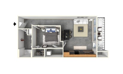 1 | 1 - 1 bedroom floorplan layout with 1 bath and 720 square feet