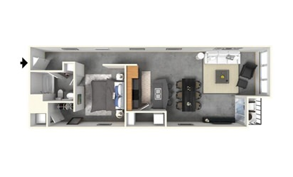 1   1 with Island - 1 bedroom floorplan layout with 1 bath and 972 square feet