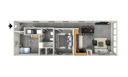 2   1 - 2 bedroom floorplan layout with 1 bath and 972 square feet