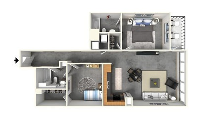 2 | 2 w/ Balcony - 2 bedroom floorplan layout with 2 bath and 1367 square feet